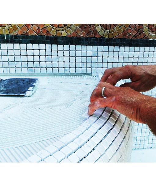 mosaico aplicación instalación frague revestimiento piscina chile