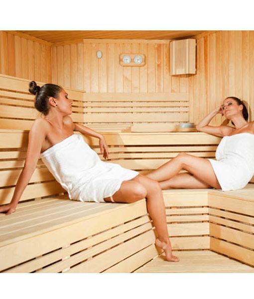 sauna calor madera cabina sala relajarse piscineria spa relax