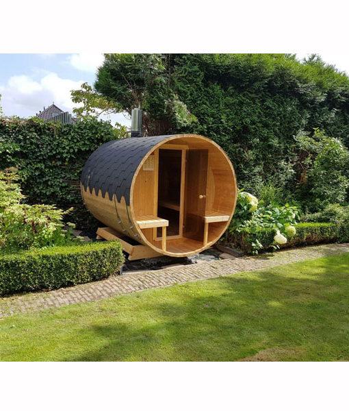 cabina sauna barril madera cedro piscineria