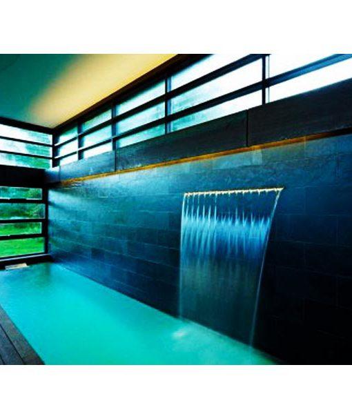 cascada acero piscina relajarse agua inoxidable