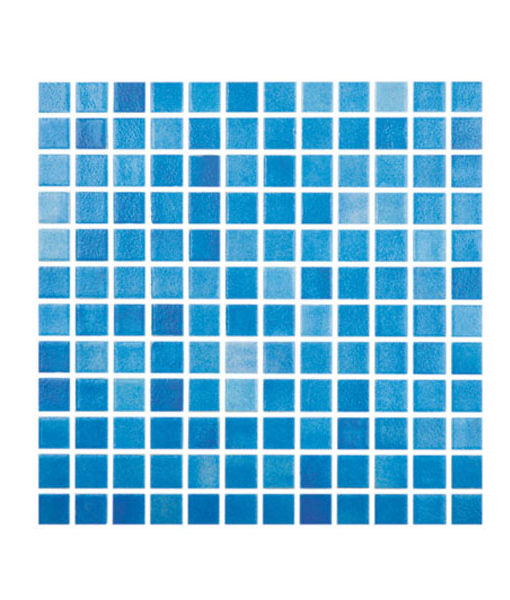 Mosaico azul claro niebla piscina relajarse agua revestimiento chile feliz relax